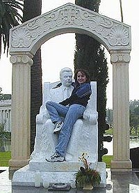 Ally sitting on on her favorite tombstone